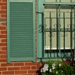 Window detail in old brick house — Stock Photo