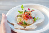 Appetizer ceviche with raw scallop — Stock Photo