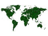 Binary World Map — Stock Vector