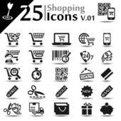 V. 01 icone dello shopping — Vettoriale Stock