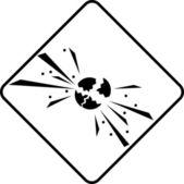 Warning symbol explosion — Stock Photo
