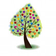 Tree with multicolor hearts — Stock Vector
