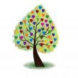 Tree with multicolor hearts — Stock Vector