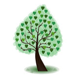 Tree with green hearts — Stock Vector