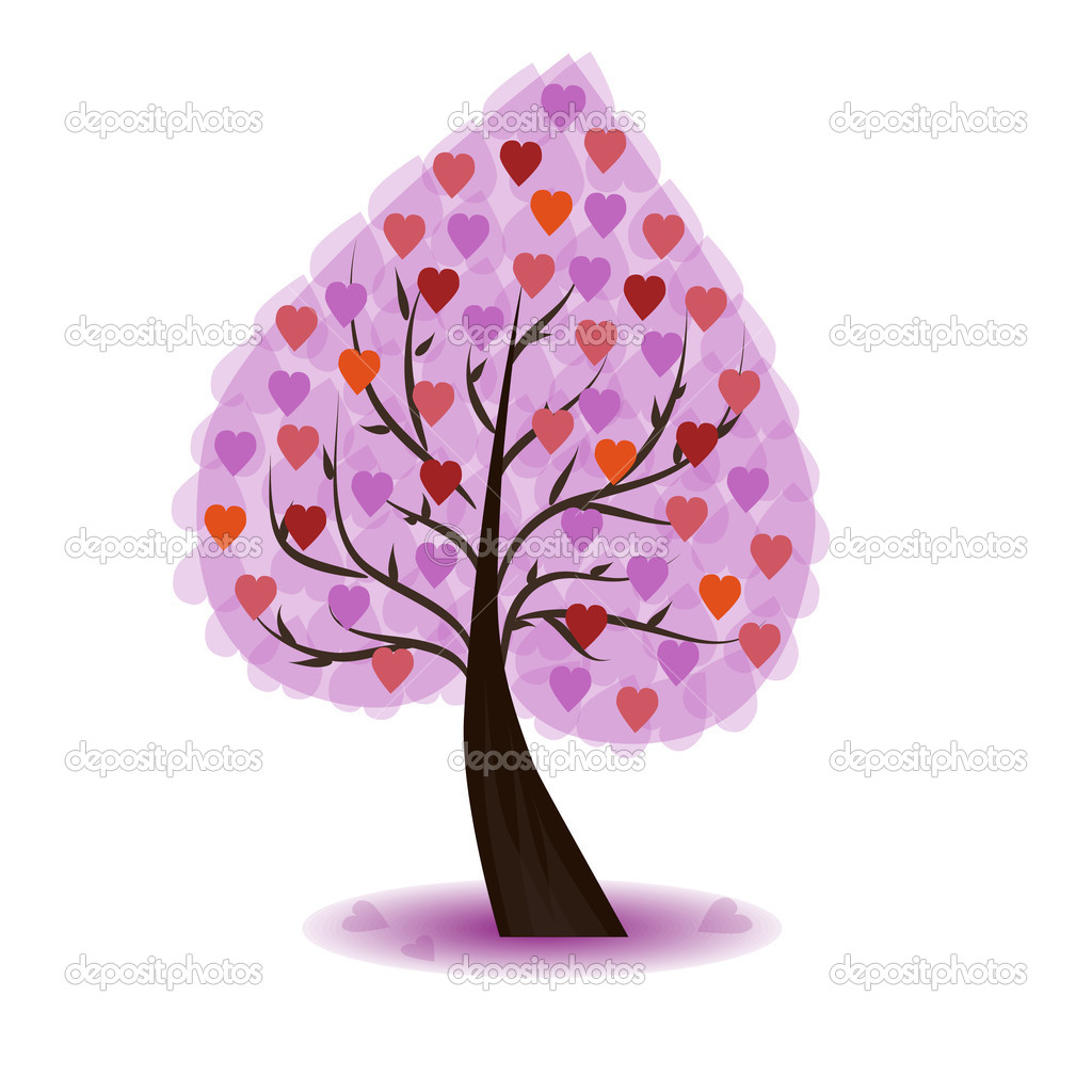 Valentine Tree, tree with red, ping, orange hearts.  Stock Vector #18753177