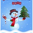 Snowman, Christmas Postcard - Stock Vector