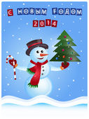 Snowman, Christmas Postcard — Stock Vector