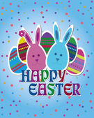 Happy Easter blue postcard — Stock Vector
