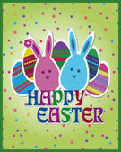 Happy Easter green postcard — Stock Vector