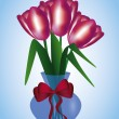 Tulips in a vase - Stock Vector