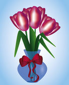 Tulips in a vase — Vector de stock