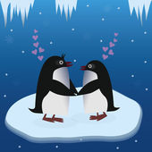 Penguins in love — Stock Vector