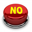 3d button red no stop disagreement push — Stock Photo