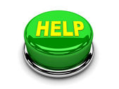 3d button green help support protection push — Stock Photo