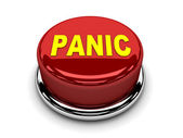 3d button red panic stop push — Stock Photo