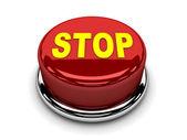 3d červené tlačítko stop přerušit push — Stock fotografie