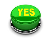 3d button green yes consented push — Stock Photo