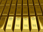 Many Gold bars background. — Stock Photo