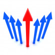 Rising blue arrows with red arrow in center. Concept 3D illustration . — Stock Photo