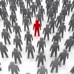Unique person in crowd. Concept 3D illustration — Stock Photo #19520069