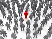 Unique person in crowd. Concept 3D illustration — Foto de Stock