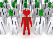 Many peoples with dollar-shaped head and one with heart-shaped head. — Stock Photo