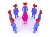 A woman surrounded by men in love. Concept 3D illustration — Stock Photo