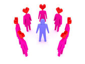 A man surrounded by women in love. Concept 3D illustration — Stock Photo