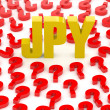 JPY sign surrounded by question marks. Concept 3D illustration. - Foto de Stock