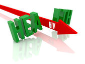 Arrow with word HIV breaks word Health. Concept 3D illustration. — Stock Photo