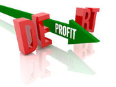 Arrow with word Profit breaks word Debt. Concept 3D illustration. — Stock Photo