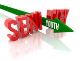 Arrow with word Youth breaks word Senility. Concept 3D illustration. — Stock Photo