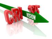 Flecha con visión palabra rompe la palabra crisis. ilustración 3d concepto. — Foto de Stock