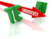 Arrow with word Controversy breaks word Team. Concept 3D illustration. — Stock Photo