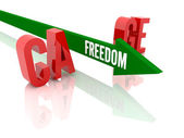 Arrow with word Freedom breaks word Cage. Concept 3D illustration. — Stock Photo