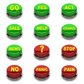 Set of 3D button. Red and green on white background. Concept 3D illustration. — Stock Photo