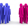 Groups of men and women. Concept 3D illustration - Stock Photo