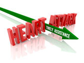 Arrow with phrase Timely Assistance breaks phrase Heart Attack. Concept 3D illustration. — Stock Photo