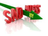 Flèche avec joie mot rompt la tristesse du mot. illustration 3d concept. — Photo