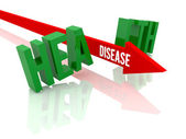 Arrow with word Disease breaks word Health. Concept 3D illustration. — Stock Photo