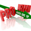 Arrow with phrase Never Give Up breaks word Problem. Concept 3D illustration. — Stock Photo