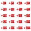 Set of 3D plus percent. Numbers. Red on white background. Concept 3D illustration — Stock Photo #22937014