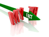 Arrow with word Fact breaks word Myth. Concept 3D illustration. — Stock Photo