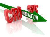 Arrow with word Innovation breaks word Crisis. Concept 3D illustration. — Stock Photo