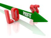 Arrow with word Profit breaks word Loss. Concept 3D illustration. — Stock Photo