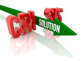 Arrow with word Solution breaks word Crisis. Concept 3D illustration. — Stock Photo