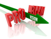 Arrow with word Vision breaks word Problem. Concept 3D illustration. — Stock Photo