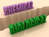 Dwa słowa, chemicznych i biologicznych podzielone na boki, separacji roztrzaskać. ilustracja koncepcja. — Zdjęcie stockowe