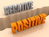 Duas palavras negativas e positivas se separaram de lados, separação de crack. ilustração 3d do conceito. — Fotografia Stock