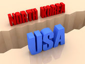 Two countries NORTH KOREA and USA split on sides, separation crack. Concept 3D illustration. — Stock Photo